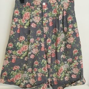 Vintage Floral High Waist Pleated Walking Short